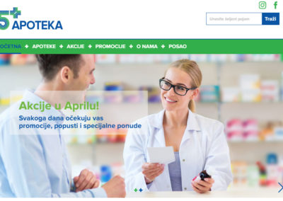 Izrada sajta za 5 plus apoteke